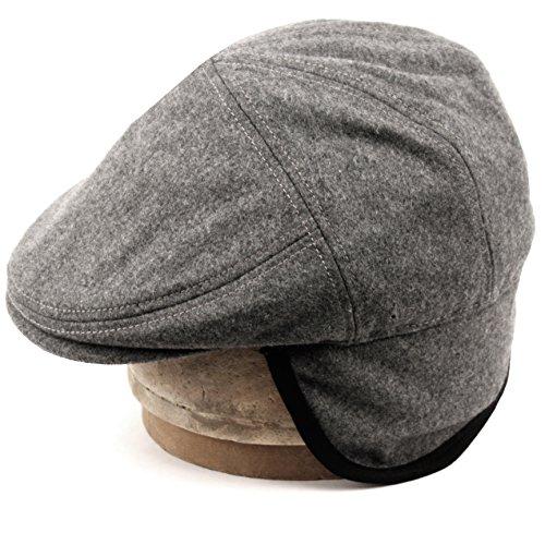 Wool Earflap Hat - 100% Wool Herringbone Winter Ivy Cabbie Hat w/ Fleece Earflaps – Driving Hat (L, CHARCOAL GRAY)