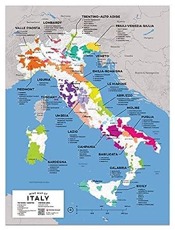 Amazon Com Wine Folly Italy Wine Map Poster Print 12 X 16