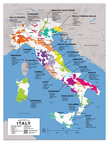 Amazon Com Wine Folly Italy Wine Map Poster Print 12 X 16