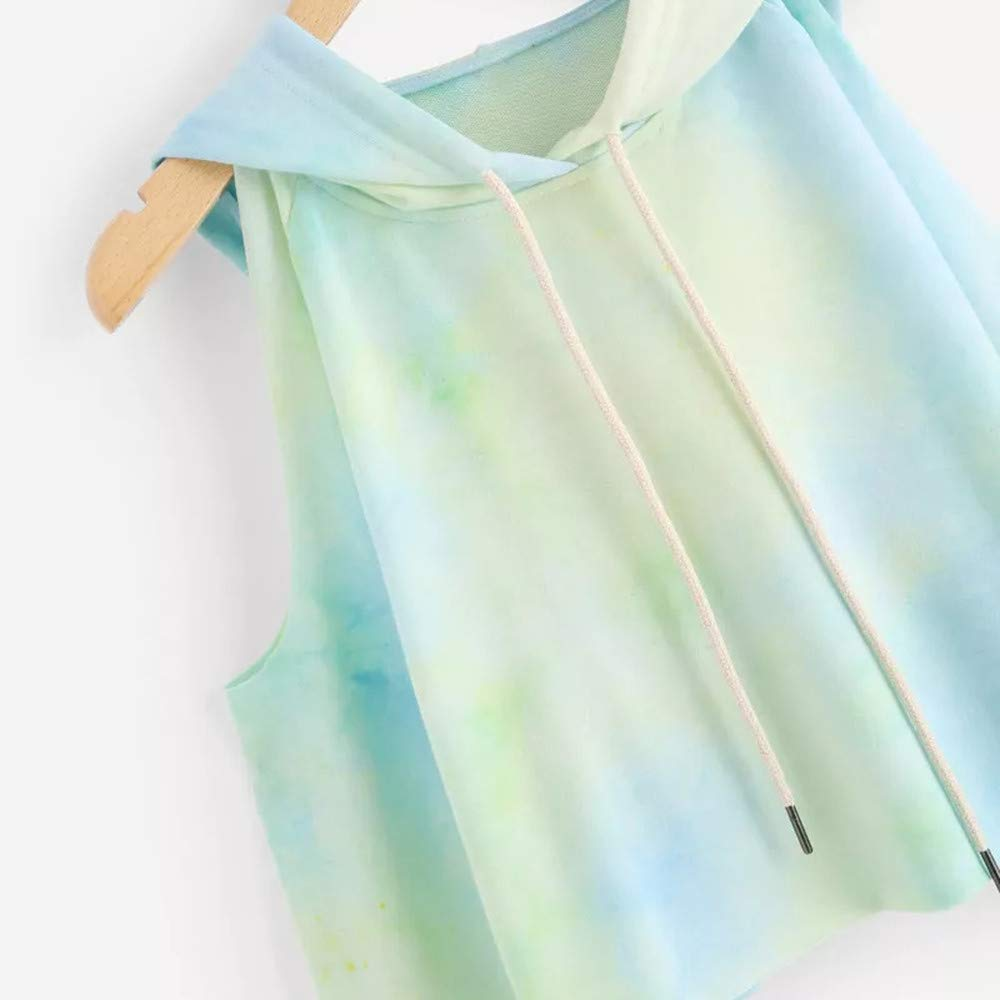 Hansee Clearance Women Girls Fashion Cold Shoulder Long Sleeve Hoodie Tie-dye Crop Sweatshirt Jumper