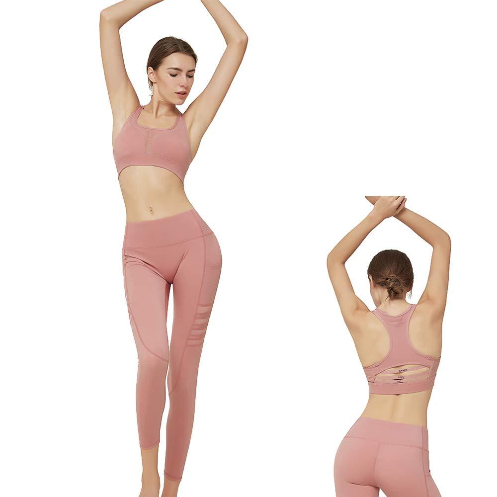 Yoga Wear Set, Sport Fitness Yoga Damen Sportswear Wear/Weste und Top & Leggings Stretch-Fit Yoga Gym Set Trainingsweste Damen Trainingsbekleidung Ärmellose Weste Laufhose Yoga Anzug