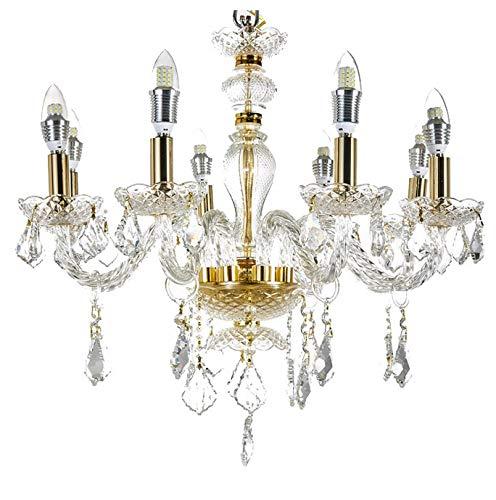Diamond Life 8-Light Classic Style Gold Finish Crystal Chandelier Pendant Hanging Ceiling Lighting, 22