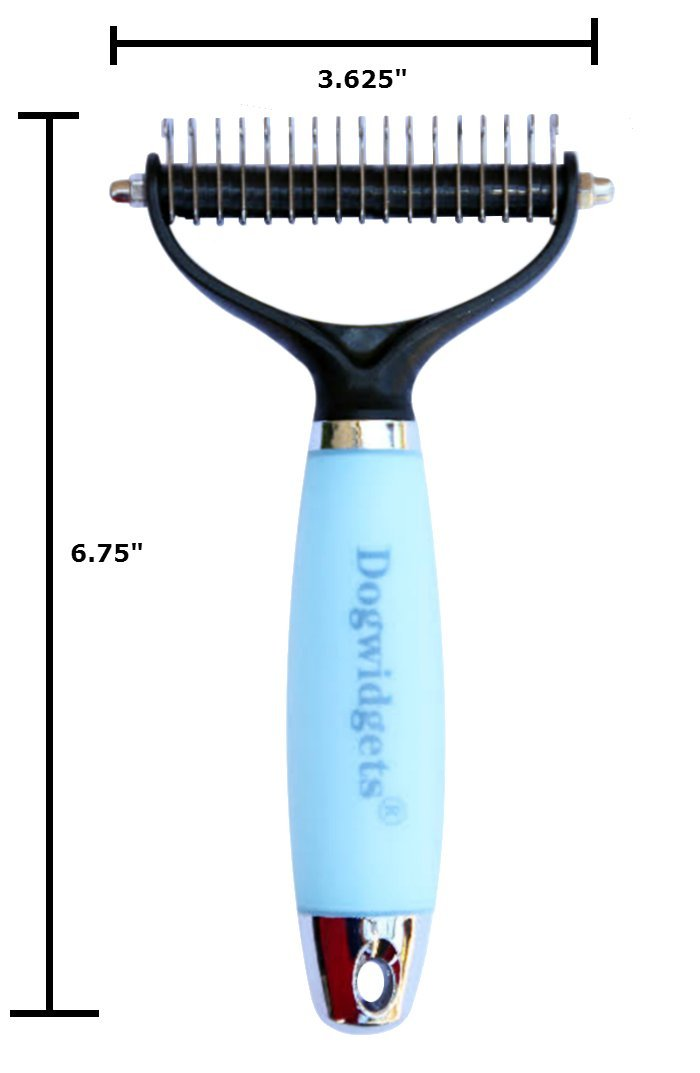 Dogwidgets Dematting Comb Brush Tool For Pet Dogs and Cats Small, Medium and Large Size Professional Grooming Rake Deshedding and Detangling With Double Sided Blades Removes Mats, Tangles and Knots