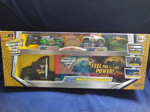 New Bright R/C RC Monster Jam Truck Hauler Radio Control Hauler With Detachable Trailer Comes With 2 Radio Control Vehicles Monster Trucks Zombie Grave Digger And Max-D