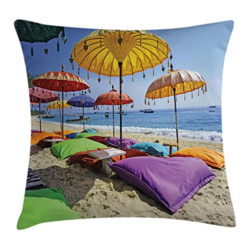 Balinese Decorative Umbrella (Balinese Throw Pillow Cushion Cover by Lunarable, Pristine Beach Bathed by the Bali Sandy Seashore Daytime Umbrellas Pillows Leisure, Decorative Square Accent Pillow Case, 40 X 40 Inches, Multicolor)