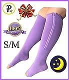 Presadee Overnight Open Toe 15-20 mmHg Zipper Compression Grade Sleeping Night Time Leg Circulation Calf Swelling Relief Purple Socks (S/M)