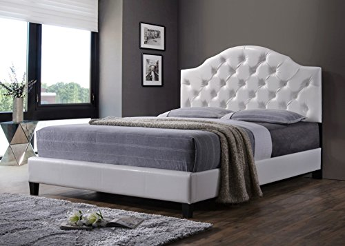 Luxury Tufted Buttons Leather Upholstered Platform Bed with Wooden Slats, Queen Bed Frame (White)