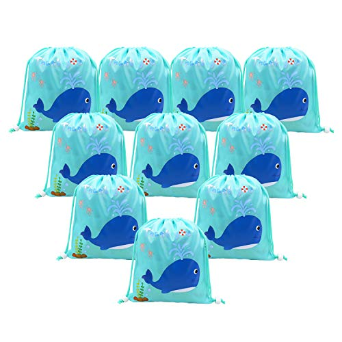 Nautical Theme Party Favor Bags Whale Theme Birthday Party Goodie Bags for Kids Baby Shower Decorations 10 packs -
