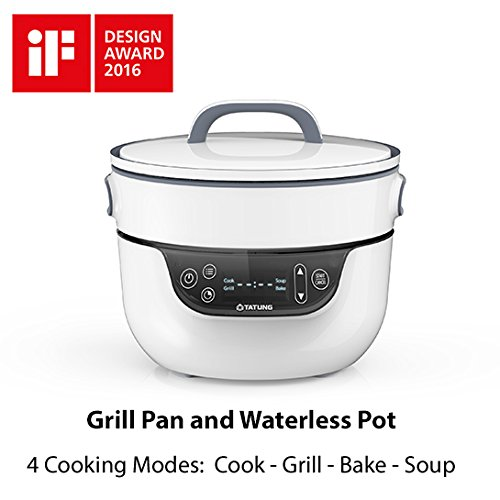 TATUNG Fusion Cooker Grill Pan and Waterless Pot - 4 Cooking