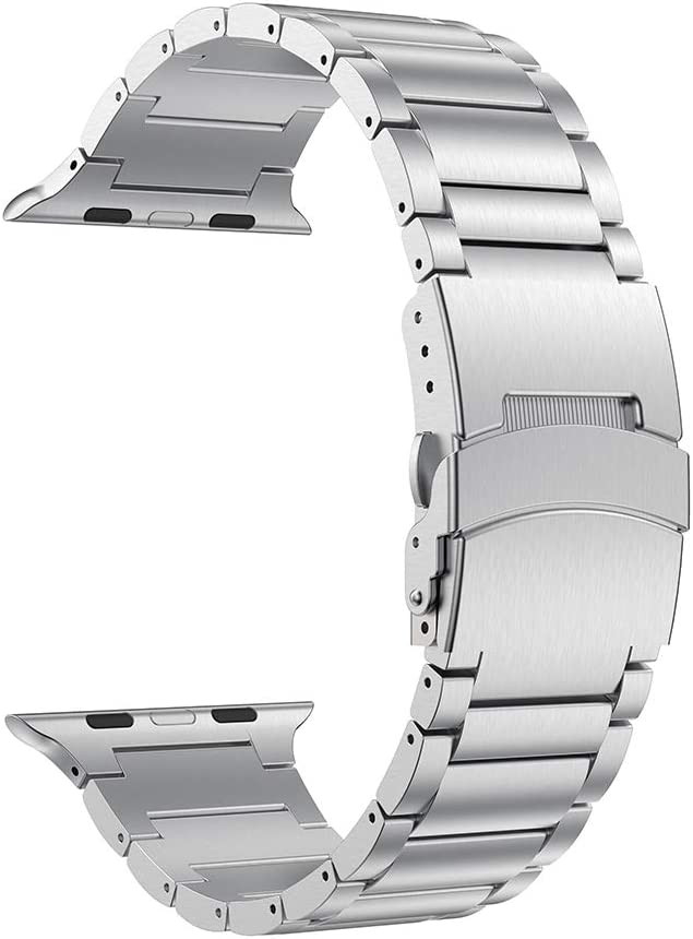 LDFAS Compatible for Apple Watch Band 44mm 42mm, Sport Stainless Steel Metal Strap with Safety Buckle for iWatch Bands Compatible for Apple Watch SE, Apple Watch Series 6/5/4/3 Smartwatch, Silver