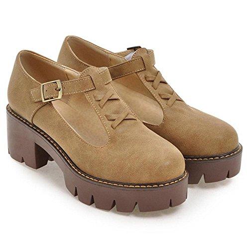 TAOFFEN Women's Fashion Chunky Court Shoes Camel kucOV