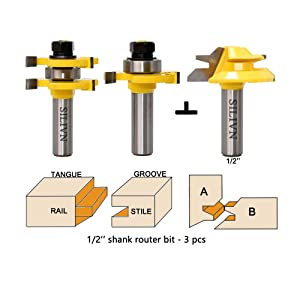 SILIVN Tongue and Groove Router Bit Tool Set ½'' Shank+45°Lock Miter Bit ½'' Shank For Professional & Beginner Carpenters - Woodworking Tools For Home Improvement and DIY