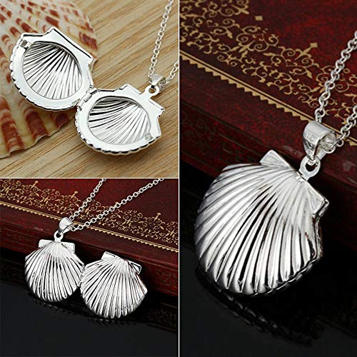 Golden Store129 Valentine Lover Gift Silver Plated Hollow Flower Water Drop Shell Photo Frames Can Open Locket Necklace Heart Necklace - Necklace Frame Heart Locket