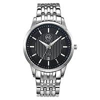 AIBI Men's AB50901-2 Analog Quartz Stainless Steel Black Face Fashion 10 ATM Waterproof Watch