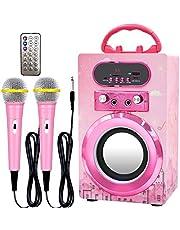 $39 » IndeCool Kids Bluetooth Karaoke Machine with 2 Microphones, Remote Control Wireless Karaoke Speaker Portable Karaoke Machine Music MP3 Player for Kids Adult Party Gift