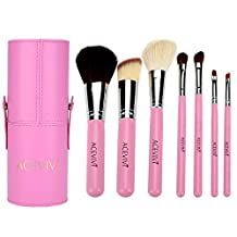 ACEVIVI 7 pcs Premium Kabuki Pink Makeup Brush Set Face Powder Foundation Eye Cosmetic Brush Kit with Roller Case, Pink