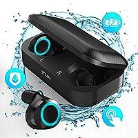 True Wireless Earbuds, TIAMAT Titan Bluetooth Earbuds Wireless Waterproof, Magical Ice Blue Breathing Light, Ultra-Thin Charging Case, Advanced Bluetooth 5.0 Earphones, Longlasting Battery Earphones