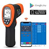 BTMETER BT-985CAPP Bluetooth 12:1 Digital Infrared Thermometer Temp Range -58℉~1472℉(-50℃~550℃) Non Contact IR Temperature Gun Tester with Backlit MAX/MIN/AVG for Kitchen Food Cooking HVAC Automotive