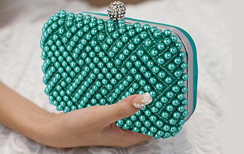Rhinestone Prom Bridal 1 Pearl Beaded Emerald Hardcase Design Wedding Clutch Bag Purse Ladies Evening Womens Handbag Party Box wqA7BxI