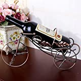 Happy E-life High Quality Stainless Steel Bicycle Shape Wine Rack Home Decoration (Rose golden)