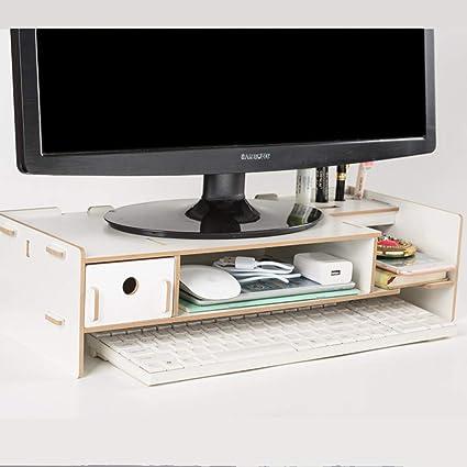 Soporte de Monitor/Madera Elevador de Pantalla Ergonómica Soporte para Ordenador de portátil Ordenador y cajón Organizador de oficina y hogar-B: Amazon.es: Coche y moto