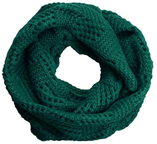 NEOSAN Women Warm Chunky Ribbed Knit Winter Infinity Loop Scarf Plaid Dark Green (Green Chunky Scarves)