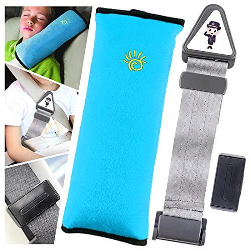 Keadic 3 - Piece Car Seatbelt Pillow, Seat Belt Adjuster Clips and Car Anti-Legs Neck Child Safety Belt Limiter Adjuster Fixer Set for Kids Toddlers Adults Smart Adjust Seat Belts to Relax Shoulder Ne ()