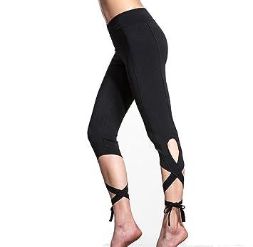 Tongshi Mujeres Deportes Gimnasio Entrenamiento de Yoga Polainas Cropped Fitness Lounge Athletic Pants (negro,