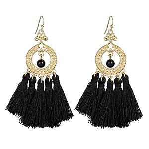 Cotton Tassel Drop & Dangle Earrings - Black