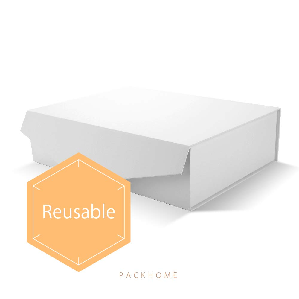 Extra Large Gift Box With Lids Rectangular 17x14 5x5 5 Inches Gift Box For Clothes And Large Gifts Matte White With Embossing 1 Box By Packhome