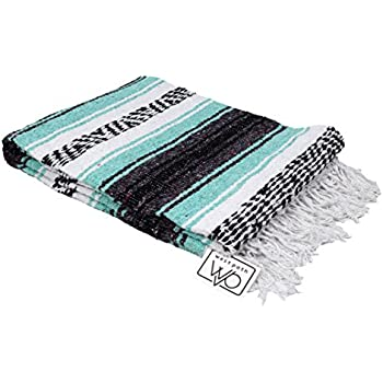 Mint / Teal and Grey Mexican Falsa Blanket - Great for the Beach, Picnics, Yoga, or a Throw! Handwoven