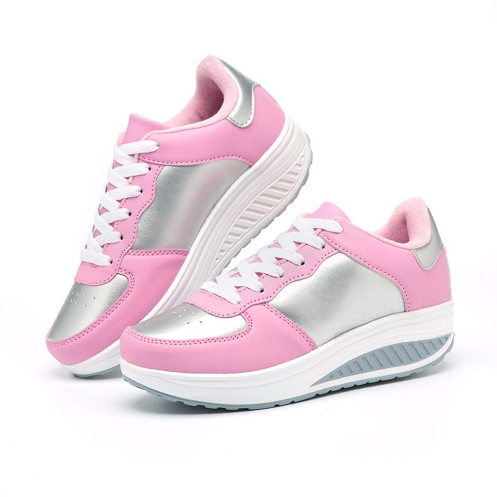 RAINED-Women New Sneakers Lace Up Sport Shoes Running Platform Sneakers Athletic Fitness Cross Training Shoes