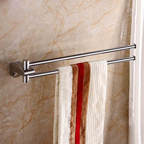 ThinkTop 18-Inch Rotate Solid Brass Bathroom Double Towel Bar Chrome Polished Finish Wall Mount Towel Rail Rack Swivel Towel Holder Bathroom Accessories