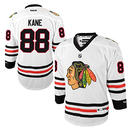 Reebok Patrick Kane Chicago Blackhawks #88 NHL Youth Away Jersey White (Youth L/XL)