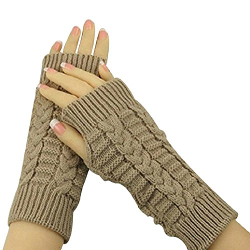Women's Knitted Arm Warmers Long Fingerless Gloves Woolen Yarn (Khaki)