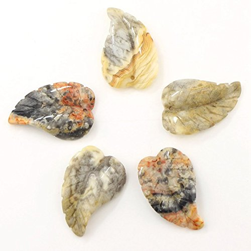 Agate Leaf Pendant Bead - Jewelry Gemstone Crystal Healing Pointed leaves Pendant Beads, for Necklace Making Crazy lace Agate