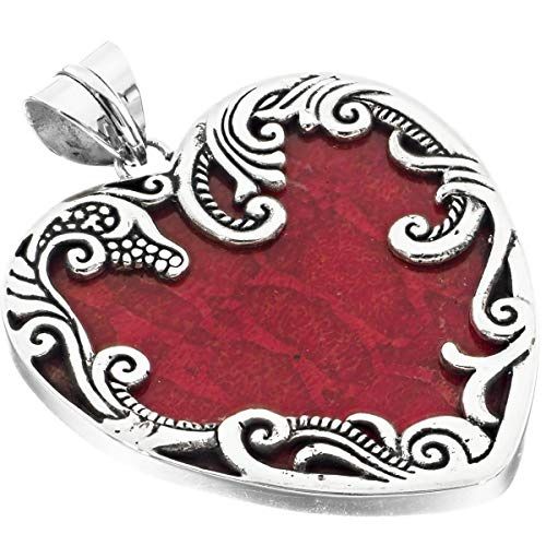 Filigree Heart Red Sponge Coral 925 Sterling Silver Pendant, 2