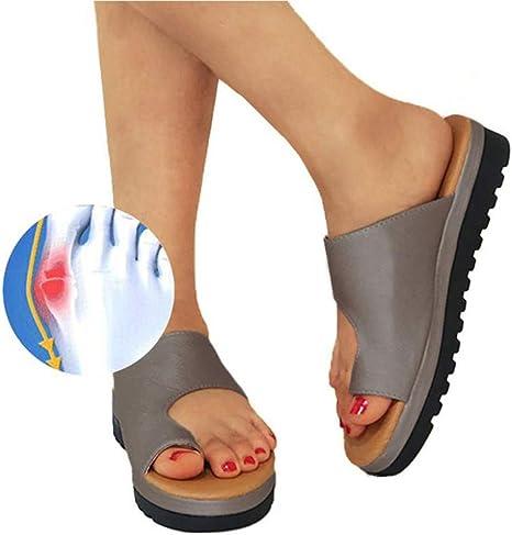Women Comfy Platform Sandal Shoes PU LEATHER Bunion Corrector