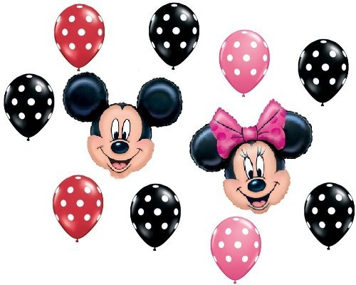 MICKEY MINNIE MOUSE Red Black Pink Polka Dots