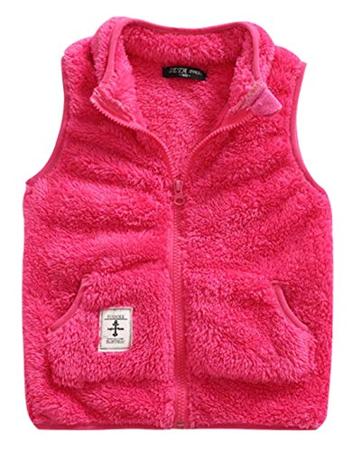 Toddler Girls Fleece Vest Zip Up Spring Waistcoat Casual Zipper Up Sleeveless Windcoat 3-4T Rose by ZETA DIKES