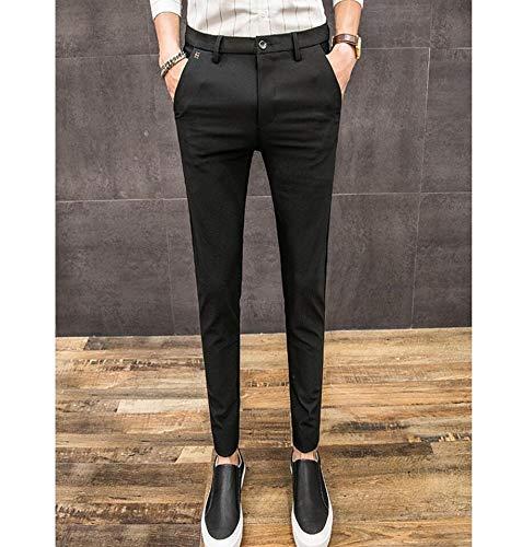 Inverno 29 Casual Pantaloni Tendenza E Moda Autunno nero Tinta Semplice Unita Sottile Uomo Sbl qEO0wn