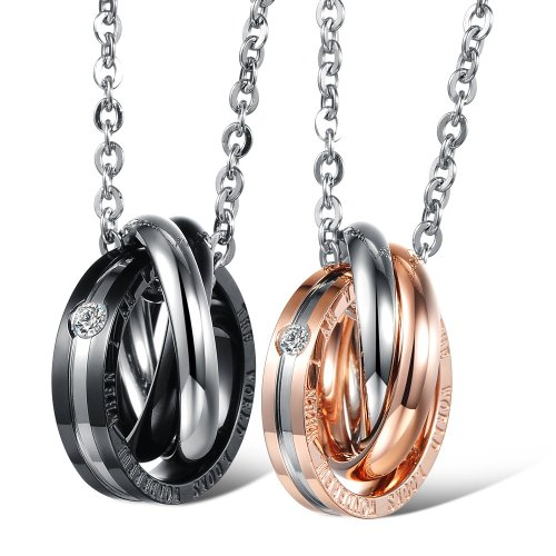 [Dixivi Jewelry a Pair Valentine Couple Stainless Steel Triple Ring Engraved Promise Necklace Sets] (Matching His And Her Costumes)