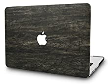 """KECC Laptop Case for MacBook Air 13"""" Italian Leather Hard Shell Cover A1466/A1369 (Brown Wood Leather 1)"""