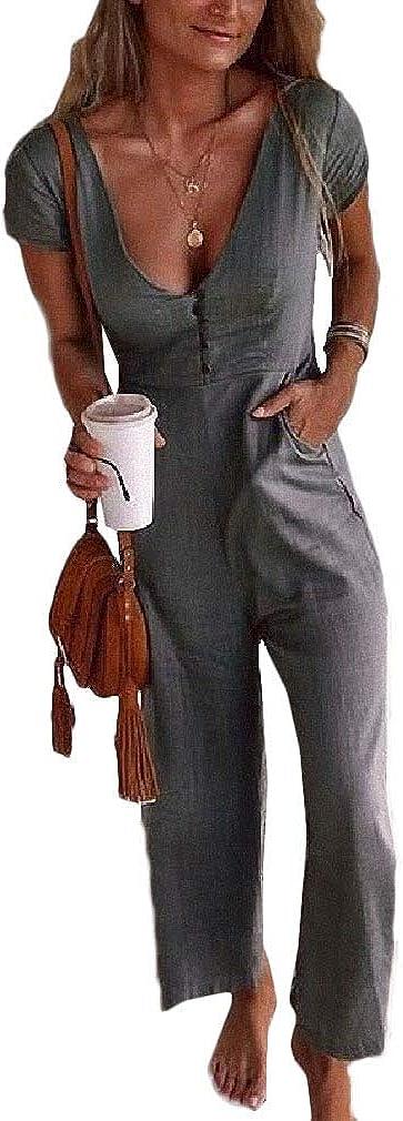 Yingshif Womens Pocket Highwaist Deep V-Neck Lounge Pants Jumpsuit
