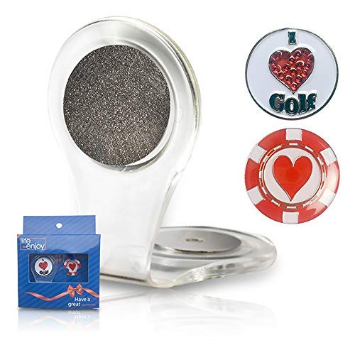 - Golf Ball Marker Clip -Crystal heart Golf Marker For Women - Attach To Your Pocket Edge, Belt, Clothes - Strong, Easy To Use Magnetic Mechanism - Transparent Color To Match With Anything! Great Gift!