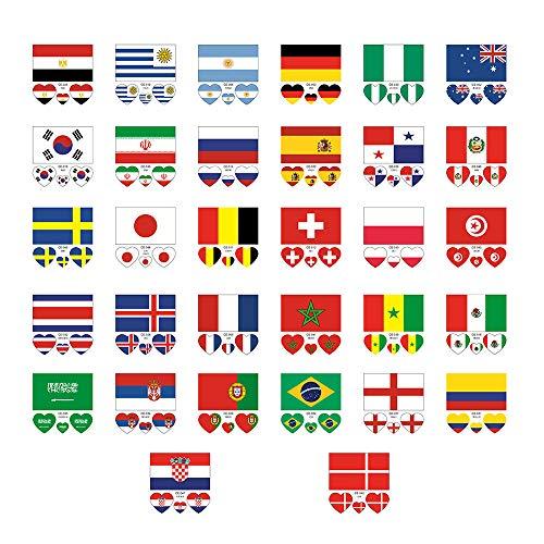 Creative Homemade Handmade Art 32Pcs Tattoos Waterproof Face Body Stickers for 32 Countries Flag Stickers (Best Homemade Tattoo Machine)