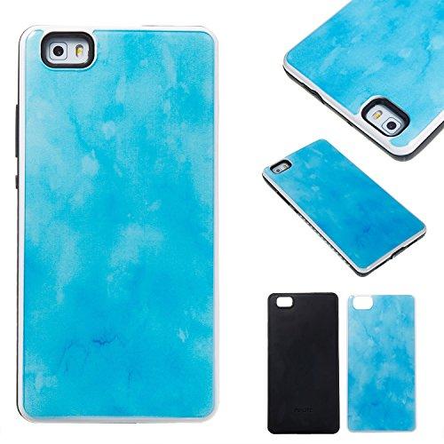 GR Para Huawei P8 Lite Híbrido a prueba de golpes Funda protectora estuche rígido Piel Marble Stone PC y TPU ( Color : Pink ) Light Blue