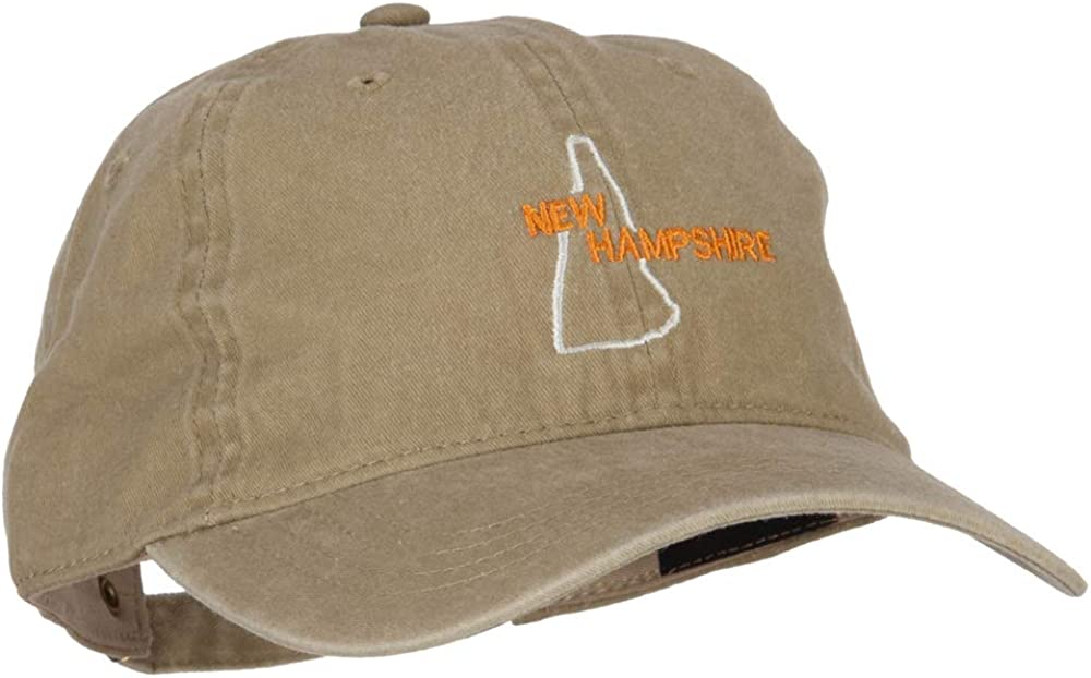 New Hampshire with Map Outline Embroidered Washed Cotton Twill Cap