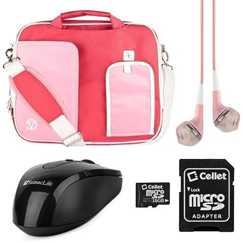 VanGoddy Pindar Messenger Shoulder Bag Case for Dell 15.6 inch Laptops with 16GB Memory Card & Pink Headphones & USB Mouse, Pastel Pink