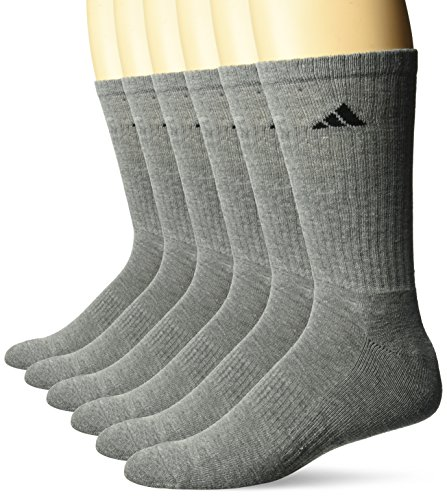 adidas Men's Athletic Cushioned Crew Socks (6-Pack), Medium Grey, X-Large (Shoe Size 12-16) ()